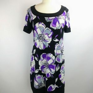 TianaB dress black with Purple floral print.Med.J4